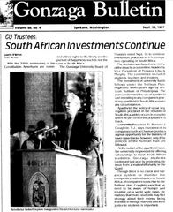 September 25, 1987 - GU Trustees Vote to Continue South African Investments